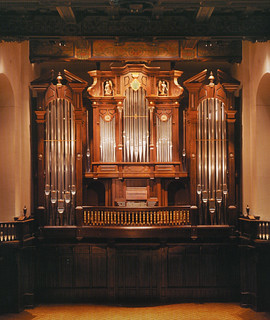 Closeup of the keyboard of the Hill Memorial Organ, designed by the C.B. Fisk Co. and installed in 2002.