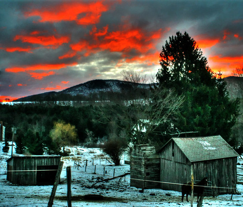 wood winter red sky snow building clouds barn digital sunrise canon landscape photography eos rebel vermont hill m moountain 2013 xttrees