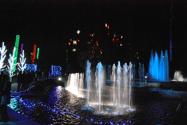 Christmas lights atlanta botanical gardens fountain flickr photo sharing for Botanical gardens atlanta lights