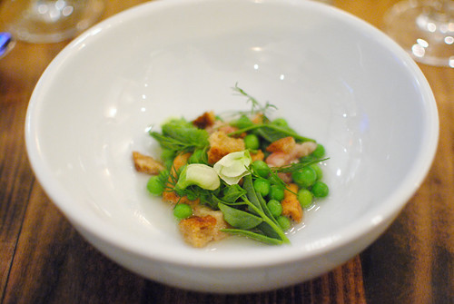 winter peas, bone marrow, green garlic broth, hedgehog mushroom, sour wheat crouton (animal)
