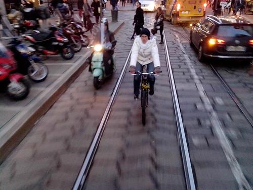 In bicicletta sul pave di via Torino by Ylbert Durishti