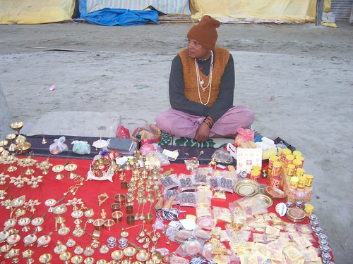 Religious rituals items seller at the Kumbh Mela