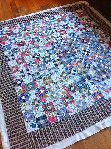 Vintage 1980's fabrics 9-patch quilt
