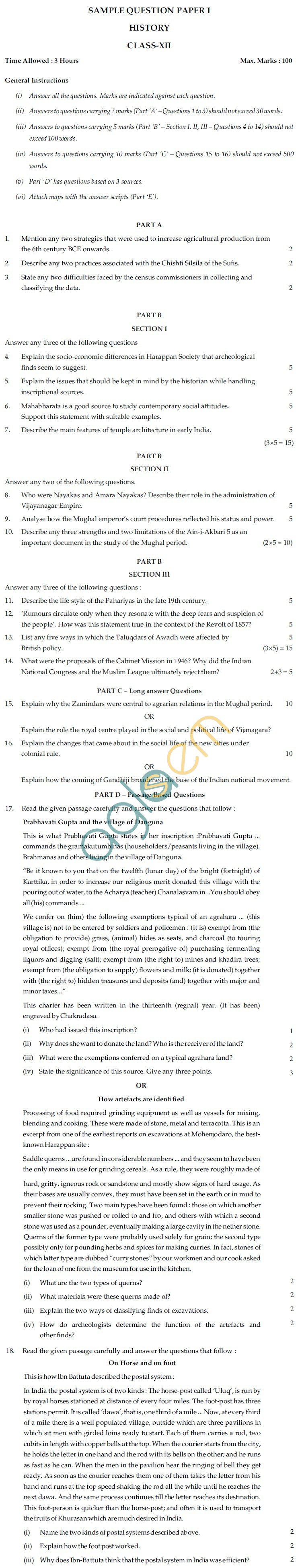 CBSE Board Exam Sample Question Papers Class XII - History