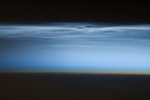 Polar Mesospheric Clouds Over the South Pacific Ocean (NASA, International Space Station Science, 1/05/13)