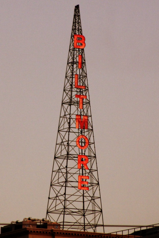 Atlanta Biltmore Hotel Neon Sign Radio Mast at dusk