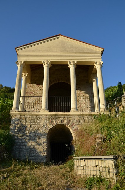 The Grutenhäuschen, a Roman two-storey temple tomb built in the 3rd century AD on a steep river bank slope, Igel, Germany