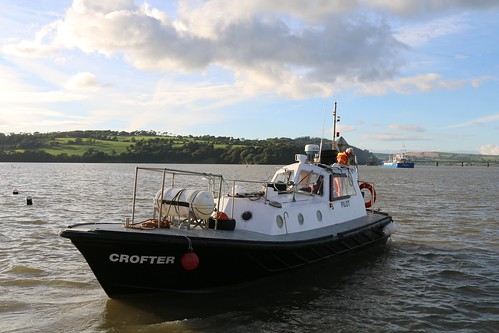 16th September 2016. Pilot Boat and Ship on the River Suir at Cheekpoint, County Waterford, Ireland