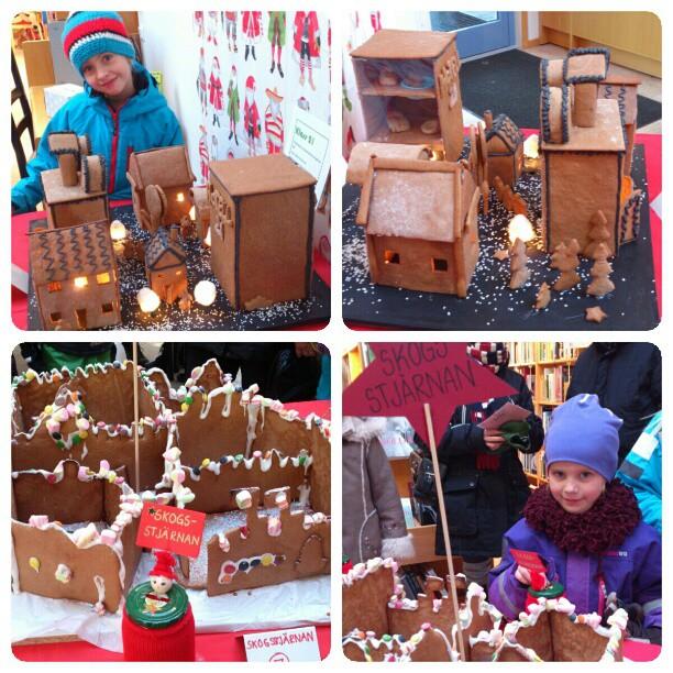 Har varit på biblioteket i byn och tittat på och röstat på barnens klass/dagis pepparkakshus. Blir lika imponerad varje år över alla fantastiska skapelser. I år fanns det bl.a. en skidbacke, en stenåldersby, några städer, en kyrka...