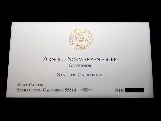 Arnold Schwarzenegger's Business Card - Celebrity Business Cards