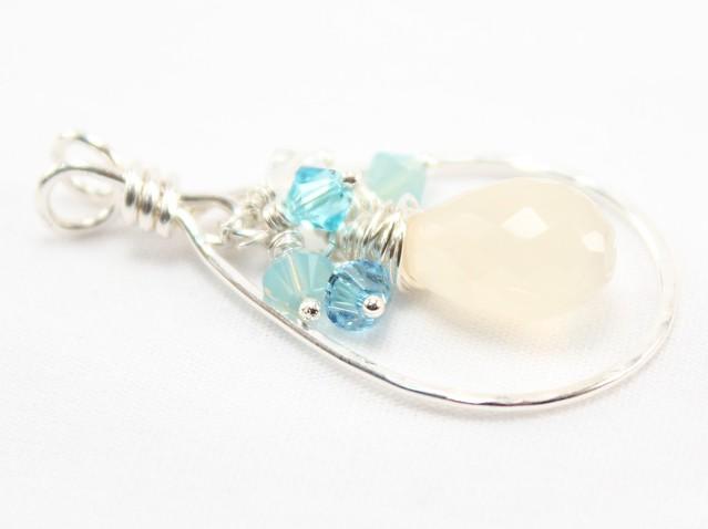 Moonstone Aqua Crystal Hammered Silver Pendant 1