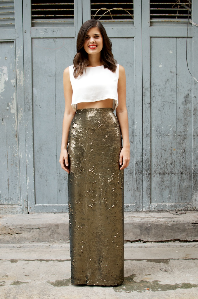 DIY Sequin Maxi Wrap Skirt | A Pair & A Spare