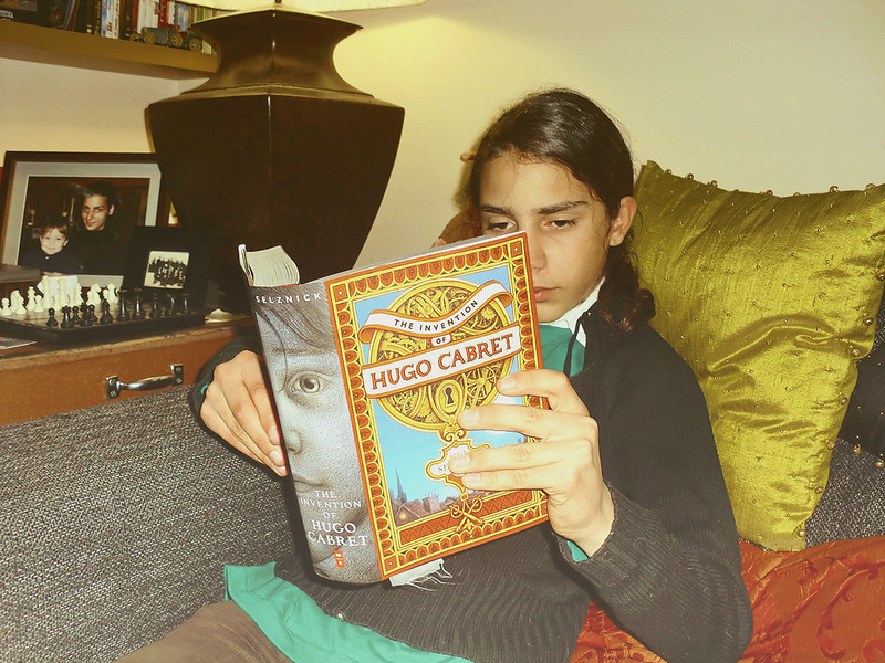 Luc with The Invention of Hugo Cabret book