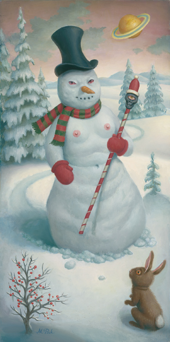 Marion Peck, The Evil Snowman, Oil on panel, 2003
