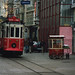Big and small, red and white tram
