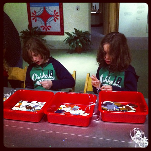 Miles and Charlie making crafts.