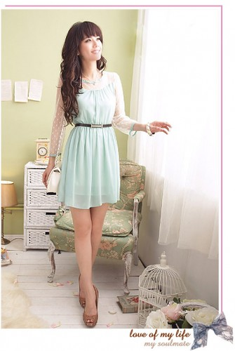Fashionable Long Sleeve Gauze Splicing Belted Draped Dress Baby Blue