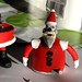 Halves of robot santa