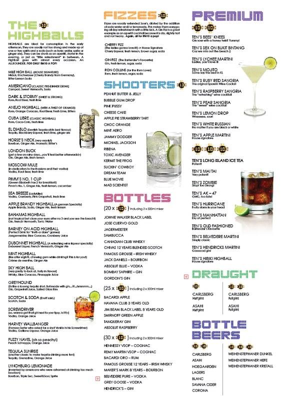 ten on changkat - menu drinks