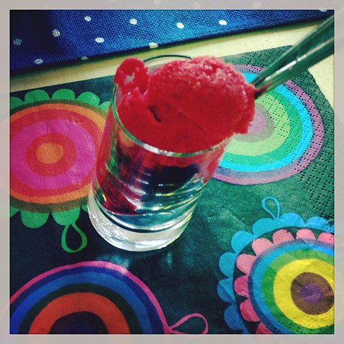 @elgatogrande made raspberry sorbet for a palette cleanser between courses! Yum!!! #marimekko
