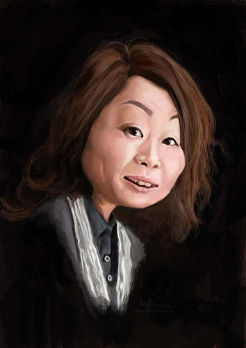 digital caricature of Winnie Hung for Hewlett Packard