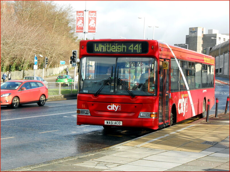 In the new livery, Plymouth Citybus SPD 55 WA51ACO is seen on Western Approach heading to Whitleigh on the 44A.