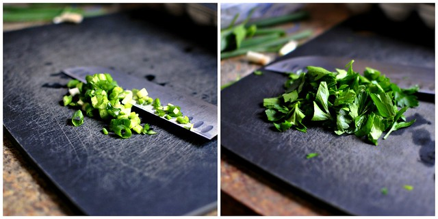green onion and fresh parsley