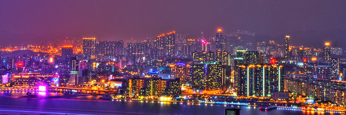Neon Light City in Mist