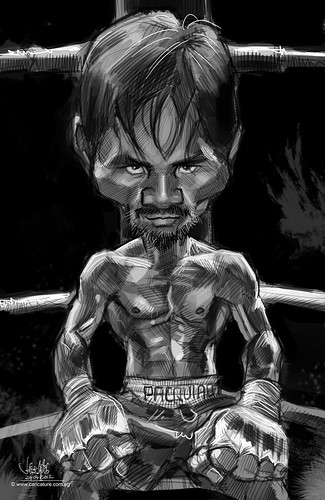 digital caricature sketch of Manny Pacquiao