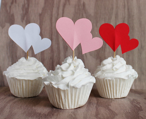 Valentine Heart Cupcake Toppers