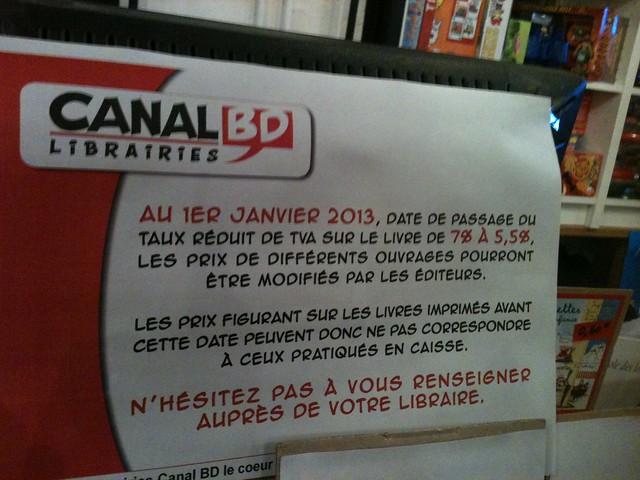 Affiche baisse TVA Canal BD janvier 2013