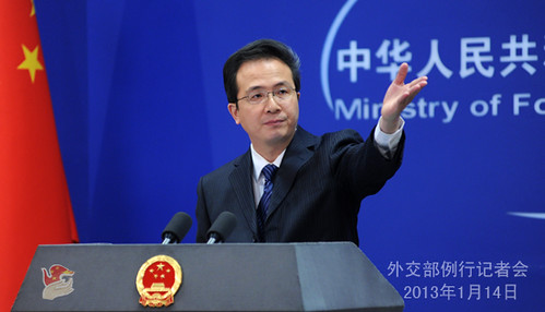 China foreign ministry official Hong Lei at press conference on January 14, 2013. Chinese workers have bee abudcted by Darfur rebels in western Sudan. by Pan-African News Wire File Photos