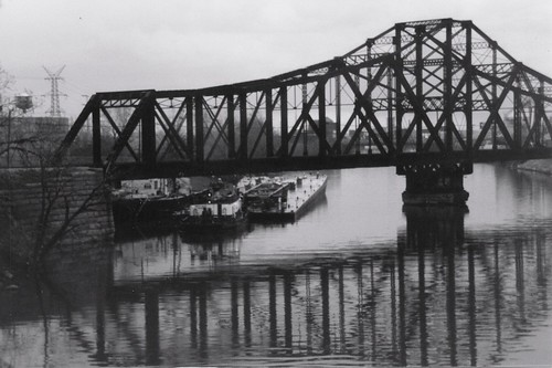 The Illinois Central Railroad swing bridge over the Chicago Sanitary and Ship Canal.  Chicago Illinois.  Early April 1989. by Eddie from Chicago
