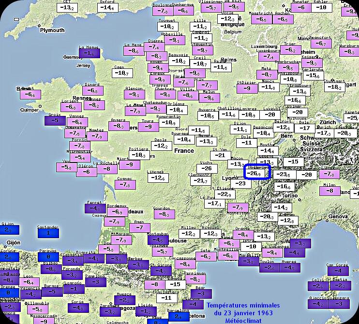 températures minimales du 23 janvier 1963 et record absolu de froid pour Ambérieu météopassion