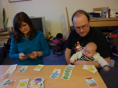 Auntie Rachel, Andrew & Sam playing Bohnanza
