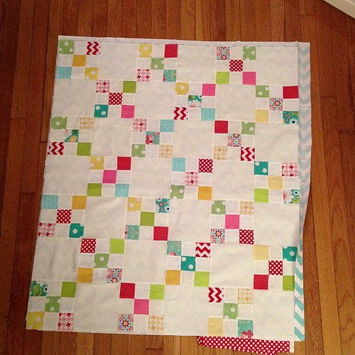 Small miracle. Quilt top finished in less than a week. Finished size 36 x 42. Aqua chevron back red polka for binding. #iwanttokeepit