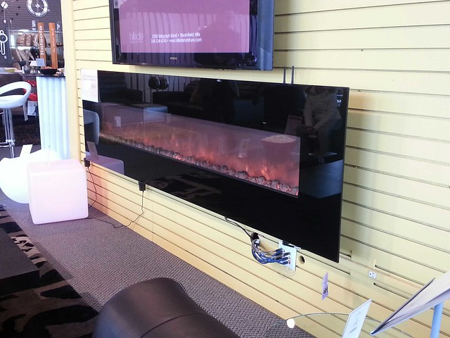 This faux fireplace from Hillside Furniture requires no wood, but gives off heat!