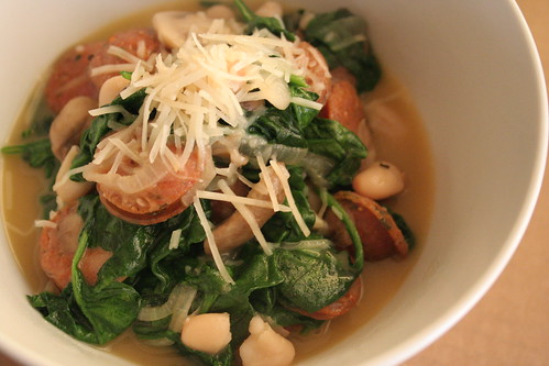 Cannellini Beans with Sausage, Spinach and Mushrooms