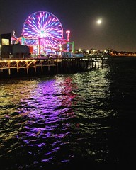 Ferris wheel in the moonlight at the Santa Monica Pier