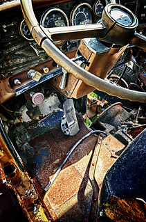 Hammer Down (2012) - HDR photo of the interior of a rusted truck
