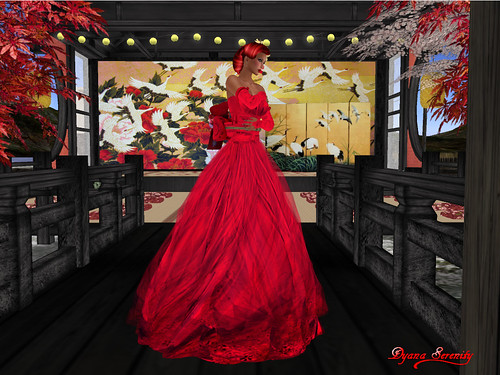 Paris METRO Couture: Kimono Wedding-Red Lotus Pond Gown by Dyana Serenity