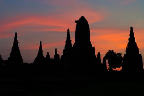 sunset sky silhouette architecture thailand temple twilight nikon dusk culture d3 worldheritage phranakhonsiayutthaya