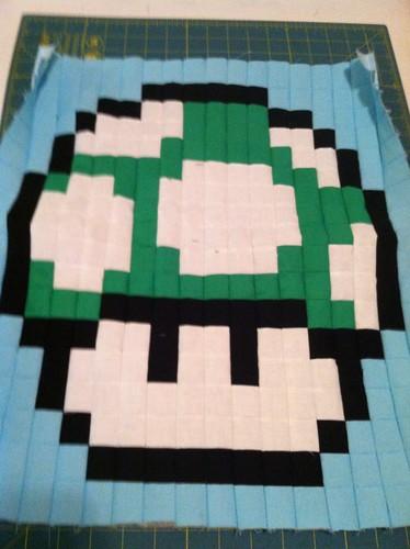 Green Mushroom Quilt Block