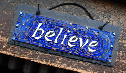 Believe Plaque in Mosaic by Nutmeg Designs