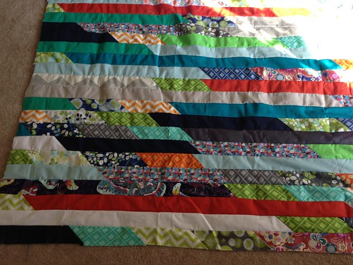 "Jelly roll race inspired quilt 64""x84"""