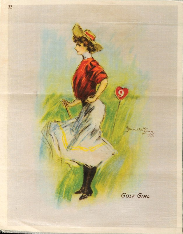 coloured sketch of woman holding a golf club with abstract green in the background near the number 9 hole pin