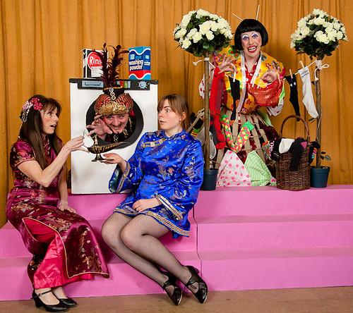 Anne Mackenzie (Princess Baldrobadour), Gordon Braidwood (Abanazar), Sarah Armes (Aladdin), Will MacIver (Widow Twankey) in a publicity shot for EPT's 2012 pantomime, Aladdin.