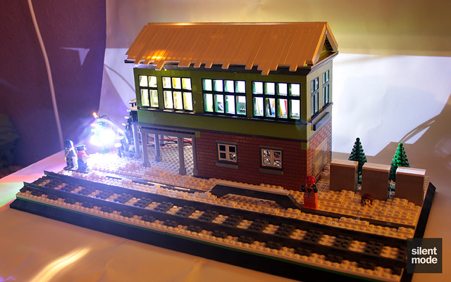 Winter Village Signal Box - lit up