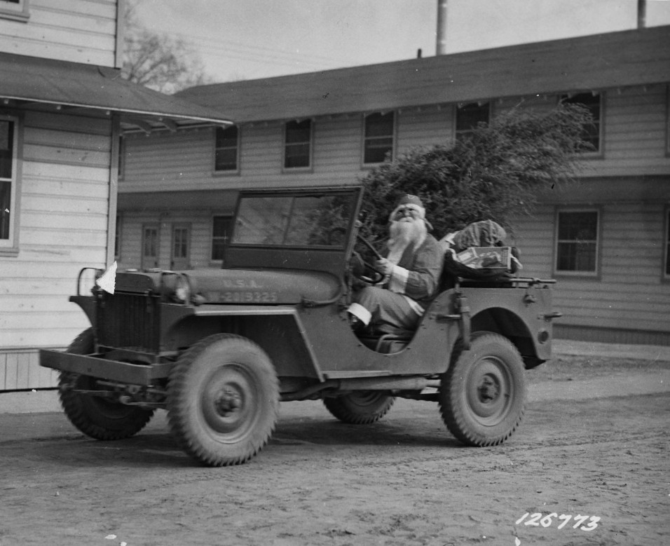 Father Christmas in Army Jeep, 1941