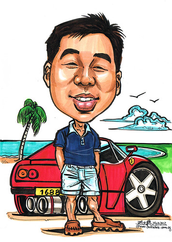 Ferrari caricature for Carl Zeiss Singapore